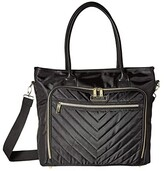 Kenneth Cole Reaction Polyester Twill Chevron Tote (Black) Tote Handbags