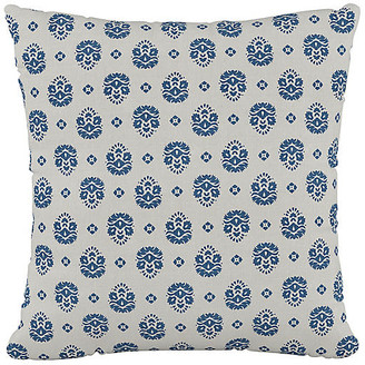 One Kings Lane Makena Floral 20x20 Pillow - Indigo/White