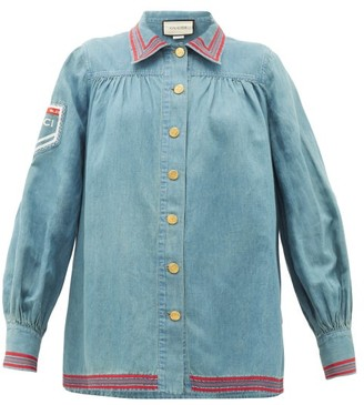 Gucci Amour De Jour-embroidered Chambray Shirt - Blue