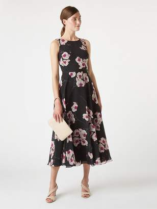 Hobbs Orchid Print Carly Dress - Black Multi