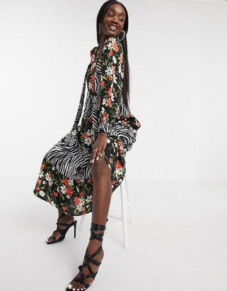 Forever U tiered midi shirt dress in floral & animal