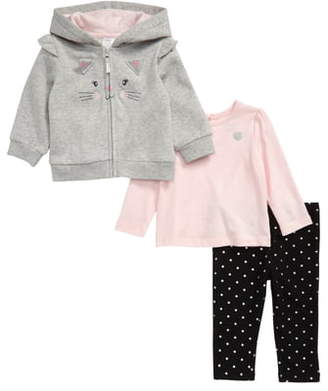 Little Me Kitty Embroidered Zip Hoodie, Shirt & Leggings Set
