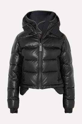 TEMPLA Hooded Tech-jersey And Quilted Leather Down Jacket - Black