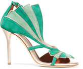 Malone Souliers Rosie Metallic Leather-trimmed Suede Sandals - Emerald