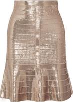 Herve Leger Paneled sequined bandage skirt