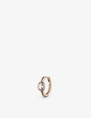 Otiumberg Oval white sapphire and 9ct gold huggie earring