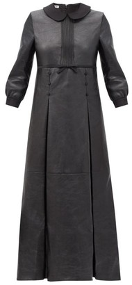 Miu Miu Round Collar Pleated Leather Dress - Black