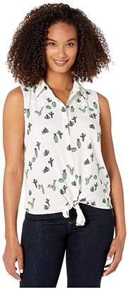 Wrangler Sleeveless Woven Cactus Print (White/Green) Women's Clothing