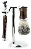 One Kings Lane Shaving Set, Brown/Silver