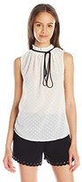 XOXO Women's Sleeveless Gathered Neck Top