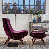 HomeSullivan Modern Curved Chair and Ottoman Set in Purple Velvet