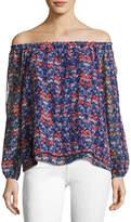 Sanctuary Chantel Off-the-Shoulder Floral-Print Blouse, Blue Pattern