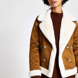 River Island Womens Brown faux suede shearling fallaway jacket