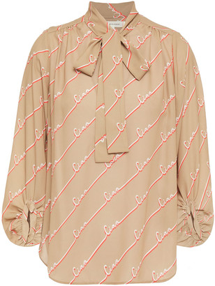 Chinti and Parker Pussy-bow Printed Crepe Blouse