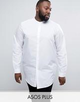 Asos PLUS Regular Fit Shirt In Longline With Grandad Collar