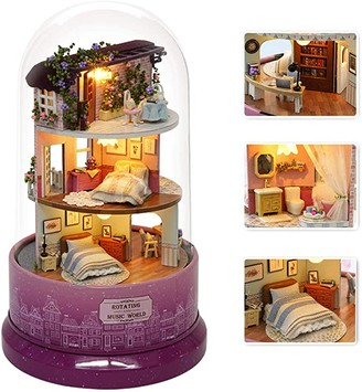 DIY Miniature Dollhouse Kit with Furniture, Spin Rotate Music Box, LED Wooden Mini House Set,Best Gift Birthday Christmas Valentine's Wedding Day for Kids Girls Women Lovers (MEEY AT THE CORNER)