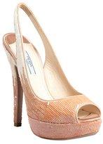 Prada pale pink and ivory sequined slingback peep toe pumps