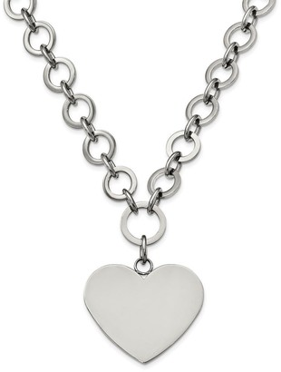 Chisel Stainless Steel Polished Large Heart with 1.75-inch Extension Necklace