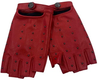 Karl Lagerfeld Paris Red Leather Gloves