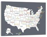 USA Map Wall Art (Canvas)