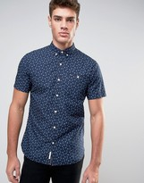 Tommy Hilfiger Short Sleeve Shirt All Over Print Slim Fit in Navy