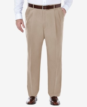 Haggar Men's Big & Tall Premium No Iron Khaki Classic-Fit Pleated Hidden Expandable Waistband Pants