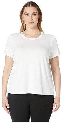 Eileen Fisher Plus Size Lightweight Viscose Jersey Round Neck Cap Sleeve Tee (White) Women's T Shirt