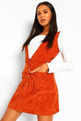 boohoo Cord Plunge Front Mini Dress