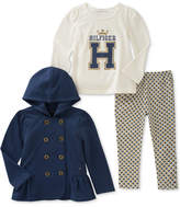 Tommy Hilfiger 3-Pc. Hooded Jacket, Graphic T-Shirt & Leggings Set, Baby Girls