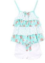 Children's Apparel Network Aqua Floral Lace Tiered Tunic & White Denim Shorts - Girls