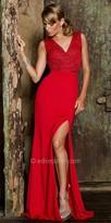 Nika V-Shape Rhinestone Embellished Thigh Slit Sukha Gown