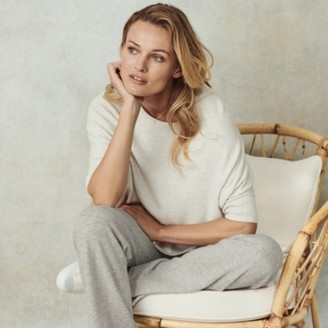 The White Company Short Sleeve Wide Jumper with Cashmere, Cloud Marl, Extra Small