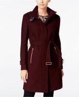 Cole Haan Faux-Leather-Trim Belted Walker Coat