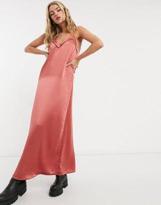 Vila a-line strappy maxi dress in pink