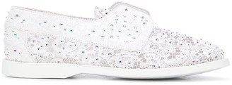 Le Silla Carta rhinestone-embellished lace boat shoes