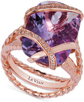 LeVian Le Vian Amethyst (10-3/4 ct. t.w.) and Diamond (1/6 ct. t.w.) Wrap Ring in 14k Rose Gold