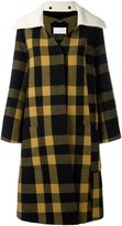 Maison Margiela checked oversize cuff coat - women - Cotton/Polyamide/Cupro/Wool - 40