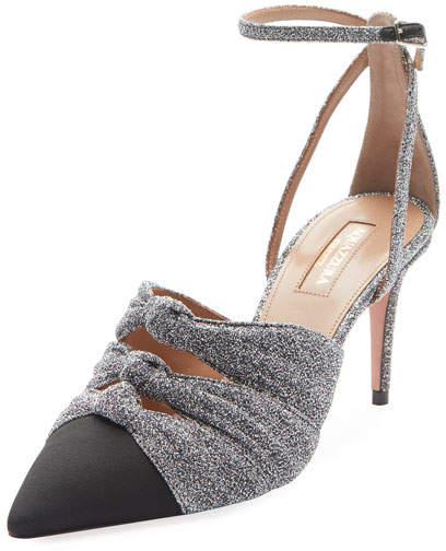 Aquazzura Mondaine Glitter Mid-Heel Ankle-Wrap Pump