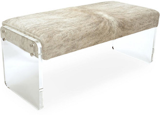 Le-Coterie Le Coterie Samantha Skinny Bench - Beige/Gray frame, clear; upholstery, beige/gray; hardware, silver