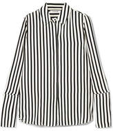 Frame Striped Silk Crepe De Chine Shirt - Black