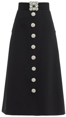Andrew Gn Crystal-embellished A-line Midi Skirt - Black Silver