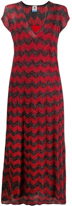 M Missoni Shimmer Chevron Strip Knit Dress