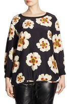 Lafayette 148 New York, Plus Size Nessa Floral Print Silk Blouse
