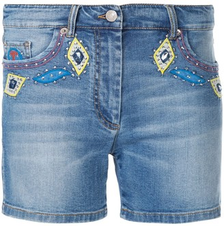 Moschino Embellished Denim Shorts