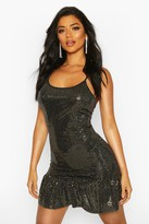boohoo Drop Hem All Over Sequin Mini Dress