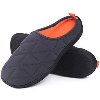 HugHome Men's Sport Memory Foam House Slippers Two Tone Breathable Clogs Home Shoes (Small / D(M) US