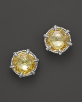 Judith Ripka Eclipse Stud Earrings with Canary Crystal