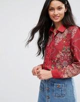 Lavand Red Floral Blouse