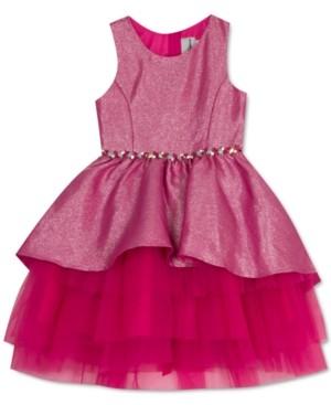 Rare Editions Little Girls Metallic Peplum Dress