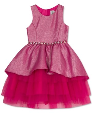 Rare Editions Toddler Girls Metallic Peplum Dress